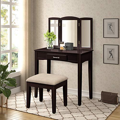 Discover harper bright designs vanity table set with mirror cushioned stool dressing table make up vanity dresserespresso