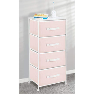 Discover the mdesign 4 drawer vertical dresser storage tower sturdy steel frame wood top and easy pull fabric bins multi bin organizer unit for child kids bedroom or nursery light pink white