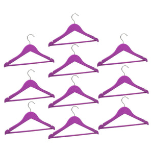 Harbour Housewares Children's Wooden Clothes Hanger - Purple - Pack of 10