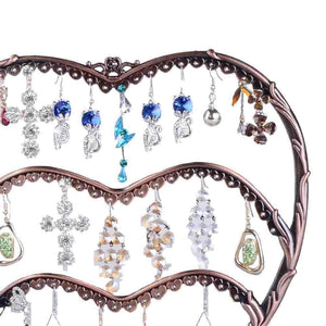 The best earring display botitu 11 inch tall jewelry holder with 58 hooks and 3 tiers earring holder for girls and women jewelry tree perfect for dresser nightstand and countertop jewelry display copper
