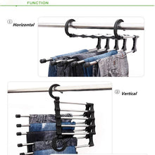 kbxstart Magic 5-in-1 Magic Stretch Pants Rack Stainless Steel Multi-Function Drying Pants Rack Metal Multi-Layer Pants Rack