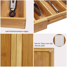 Save on mebbay 5 set bamboo drawer dividers kitchen drawer organizer adjustable drawer divider organizer bamboo wood utensil drawer organizer for kitchen dresser bedroom bathroom with non slip pads