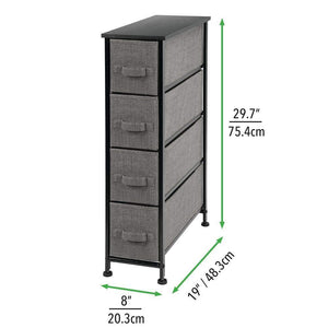 Purchase mdesign narrow vertical dresser storage tower sturdy metal frame wood top easy pull fabric bins organizer unit for bedroom hallway entryway closet textured print 4 drawers charcoal gray