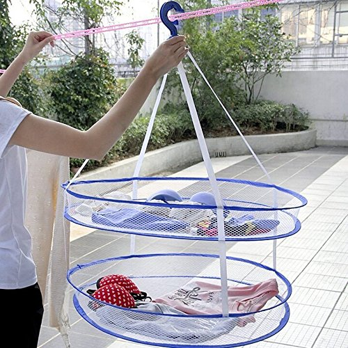 Clothes Hangers Decorative, Clothes Hangers Bulk Laundry Hanger Dryer Foldable Clothes Basket 2 Tiers Mesh Net Drying Rack, Material Nylon mesh