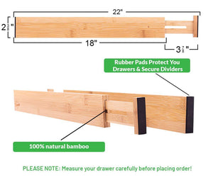 Top drawer dividers bamboo kitchen organizers set of 6 spring loaded drawer divider adjustable expandable drawer organizer best for kitchen bedroom dresser baby drawers closet