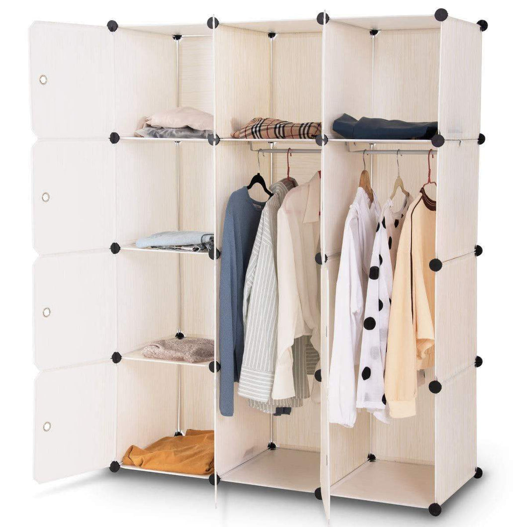 Products tangkula closet portable diy plastic stackable customizable bedroom dom dresser clothes closet wardrobe armoire organizing shelf cube storage with doors organizer closet 6 cubes 2 hanging sections