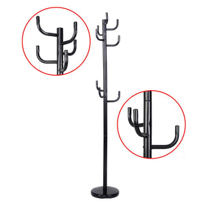Coat & Hat Racks New Metal Coat Rack Hat Stand Tree Hanger Hall Umbrella Holder Hooks Black