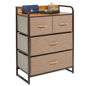 Order now mdesign dresser storage chest sturdy metal frame wood top easy pull fabric bins organizer unit for bedroom hallway entryway closet textured print 4 drawers coffee espresso brown