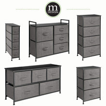 Cheap mdesign vertical dresser storage tower sturdy steel frame wood top easy pull fabric bins organizer unit for bedroom hallway entryway closets textured print 4 drawers charcoal gray black