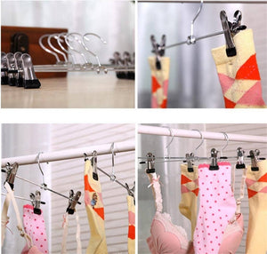 GFYWZ Pants rack stainless steel Windproof Flexible Multi Purpose 28CM Home sock underwear Drying Magic Hangers (pack of 10), black, 2811cm