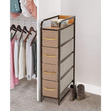 Kitchen mdesign vertical narrow dresser storage tower sturdy steel frame wood top handles easy pull fabric bins organizer unit for bedroom hallway entryway closets 4 drawers coffee espresso