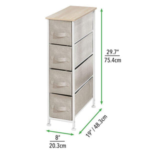 Select nice mdesign narrow vertical dresser storage tower sturdy frame wood top easy pull fabric bins organizer unit for bedroom hallway entryway closets textured print 4 drawers light tan white