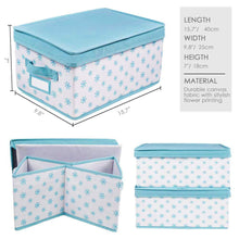 Latest homyfort foldable storage box bins with lid sturdy canvas drawer dresser organizer for closet clothes bras ties set of 2 white canvas with blue flowers