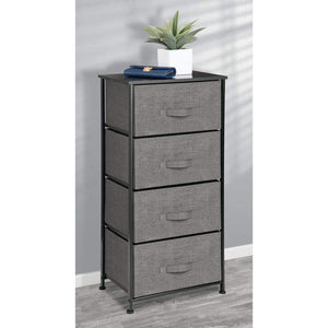 Discover the best mdesign vertical dresser storage tower sturdy steel frame wood top easy pull fabric bins organizer unit for bedroom hallway entryway closets textured print 4 drawers charcoal gray black