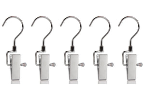 Set of 5 Swivel Metal Clip Hook Hangers for Hanging Pants Boots Laundry Travel Portable