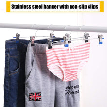 Clothes Hangers Stainless Steel with Non Slip Clips Hangers for Pants Metal Skirt Hangers Heavy Duty Slack Hangers Adjustable Clips Resistant Plated for Skirt Clothes Jeans Shorts Trousers (20 Pack)
