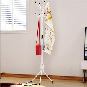 Belovedkai Coat Hat Stand Rack for Coat/Hat/Umbrella Clothes Hanger Stand, Tree Stand with Base Metal, White (Black)