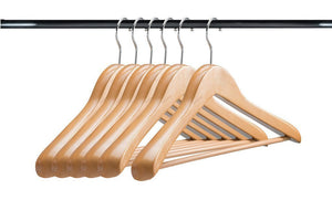 A1 Hangers Natural wooden hangers (Set of 6) Extra thick clothes hangers for coat hanger and suit hangers