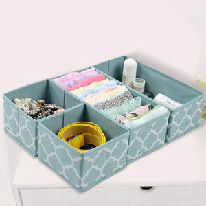 Buy homyfort set of 6 foldable dresser drawer dividers cloth storage boxes closet organizers for underwear bras socks ties scarves blue lantern printing