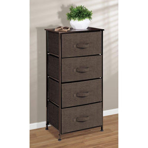 Organize with mdesign vertical dresser storage tower sturdy steel frame wood top easy pull fabric bins organizer unit for bedroom hallway entryway closets textured print 4 drawers espresso brown