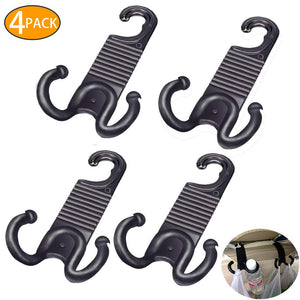 4 Pack Car Back Seat Headrest Hanger Holder Hooks for Purse Grocery Bag Cloth Coat Bottle - Convenient Universal Vehicle Trunk Organizer - Heavy Duty Purse Hooks - Dude Gadget - Car Accessories