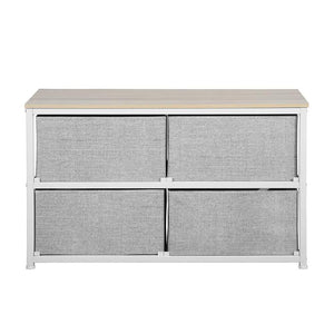 Storage aingoo dresser storage 4 drawers storage bedroom steel frame fabric wide dressers drawers for clothes grey wood board 2x2 drawers grey