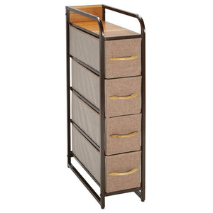 Featured mdesign vertical narrow dresser storage tower sturdy steel frame wood top handles easy pull fabric bins organizer unit for bedroom hallway entryway closets 4 drawers coffee espresso