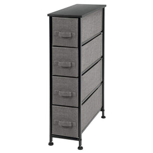 Select nice mdesign narrow vertical dresser storage tower sturdy metal frame wood top easy pull fabric bins organizer unit for bedroom hallway entryway closet textured print 4 drawers charcoal gray