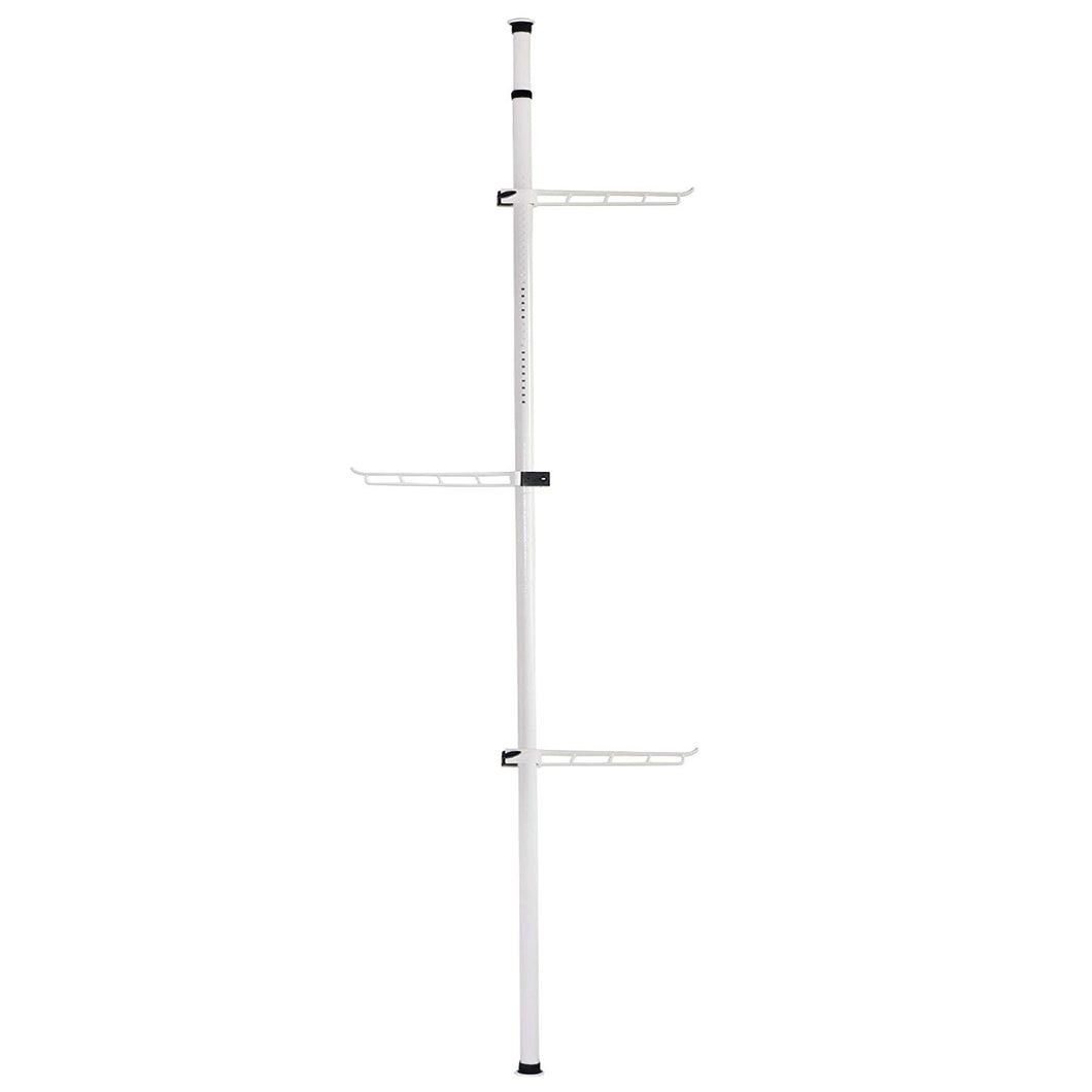 Asunflower Free Standing Coat Rack Corner Hats Hanger, 3-Tire Adjustable Metal Holder Rack, White