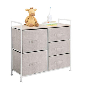 Budget friendly mdesign wide dresser storage tower sturdy steel frame wood top easy pull fabric bins organizer unit for bedroom hallway entryway closets textured print 5 drawers linen tan