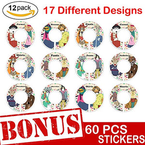 Closet Size Dividers 12 Pack - Clothing Organizer Rack Round Rod Seperator Hangers | Closet Dividers with 30 Double-Sided, 17 Design DIY Stickers with Cute Animal, Flower Themes | Baby,Nursery, Gift