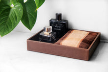 Buy ms box pu leather desktop storage organizer catchall tray valet tray nightstand or dresser organizer brown 10 2 x 8 4 x 1 8 inches