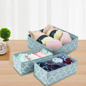 Budget friendly homyfort set of 6 foldable dresser drawer dividers cloth storage boxes closet organizers for underwear bras socks ties scarves blue lantern printing