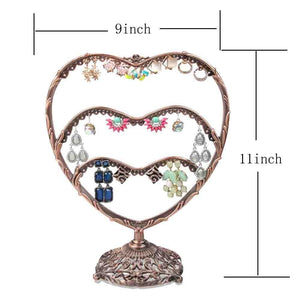 Top earring display botitu 11 inch tall jewelry holder with 58 hooks and 3 tiers earring holder for girls and women jewelry tree perfect for dresser nightstand and countertop jewelry display copper