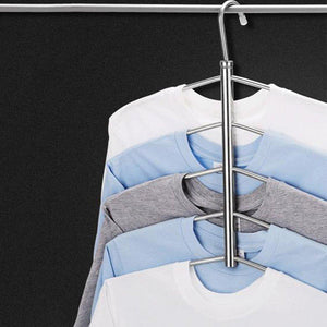 XuBa 3/5 Layers Anti-Slip Stainless Steel Sweater Shirt Hanging Clothes Hanger Clothing Storage Space Saver Fishbone Stainless Steel Hanger 5 Layers with Silicone Cover