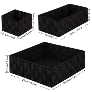 Buy now kedsum woven storage box cube basket bin container tote cube organizer divider for drawer closet shelf dresser set of 4 black