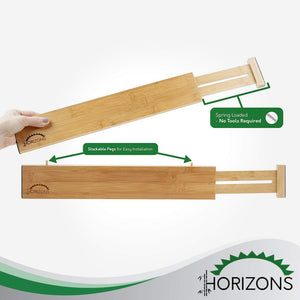 Featured horizons adjustable stackable 100 eco friendly bamboo drawers set of 6 kitchen drawer desk dresser bathroom divide organize