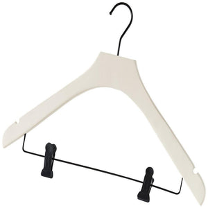 Cream Coat Hanger with Clips