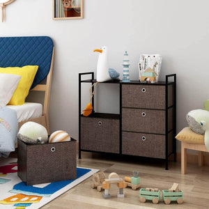 Order now langria faux linen wide dresser storage tower with 5 easy pull drawer and handles sturdy metal frame and wooden table organizer unit for guest dorm room closet hallway office area dark brown