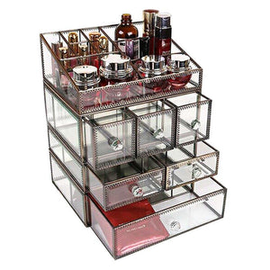 Great hersoo large antique mirror glass makeup organizer jewelry cosmetic display stackable dresser storage for vanity with lid dustproof beauty accent home decorative box drawerset br