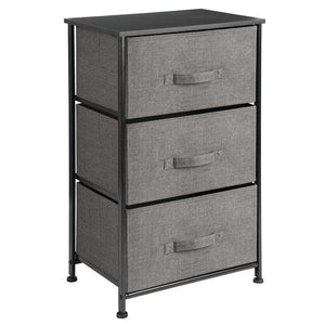 Get mdesign vertical dresser storage tower sturdy steel frame wood top easy pull fabric bins organizer unit for bedroom hallway entryway closets textured print 3 drawers charcoal gray black
