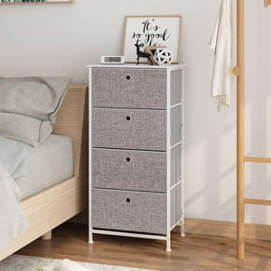Home langria 4 drawer home dresser storage tower clothes organizer with easy pull faux linen drawers and metal frame features wooden tabletop premium finish for guest room dorm hallway or office grey