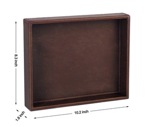Budget friendly ms box pu leather desktop storage organizer catchall tray valet tray nightstand or dresser organizer brown 10 2 x 8 4 x 1 8 inches