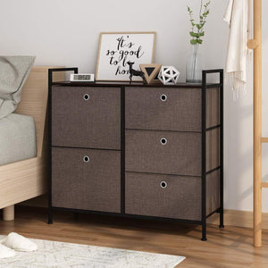 Organize with langria faux linen wide dresser storage tower with 5 easy pull drawer and handles sturdy metal frame and wooden table organizer unit for guest dorm room closet hallway office area dark brown