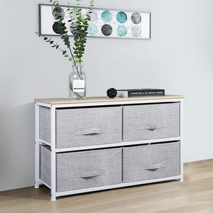 Shop here aingoo dresser storage 4 drawers storage bedroom steel frame fabric wide dressers drawers for clothes grey wood board 2x2 drawers grey