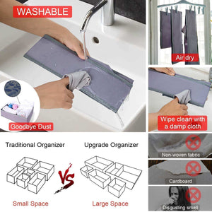 New drawer organizer clothes dresser underwear organizer washable deep socks bra large boxes storage foldable removable dividers fabric basket bins closet t shirt jeans leggings nursery baby clothing gray