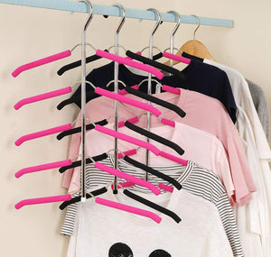 JERY Clothes Hangers Multi Layer Clothes Rack Closet Multifunctional Hanger Seamless Slip-Resistant Clothes Hanging Household Hangers (Black)