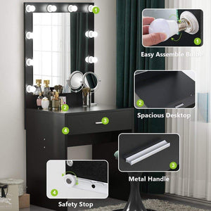 Buy now tribesigns vanity set with lighted mirror makeup vanity dressing table dresser desk with large drawer for bedroom black 10 cool led bulbs