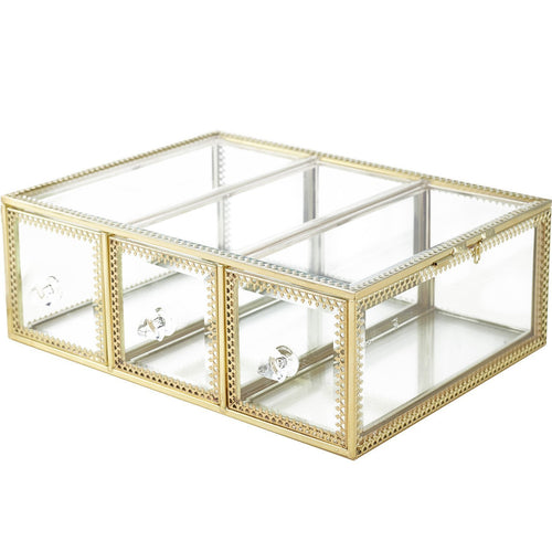 Top rated hersoo large mirror glass top dresser make up organizer jewelry cosmetic display stackable cube 6 drawers set dresser storage for vanity with lid bathroom accessories brushes container 3drawerg