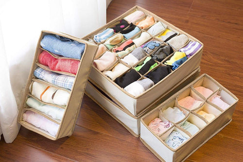 Discover the simplized closet underwear organizer 4 pack beige collapsible foldable cloth storage box dresser drawer organizer divider set cube basket bins containers for lingerie clothes bras socks ties